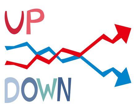 Down arrow vector, stock market, crash