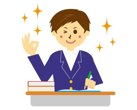 illustration Vector of a schoolboy in uniform . Ilustracja