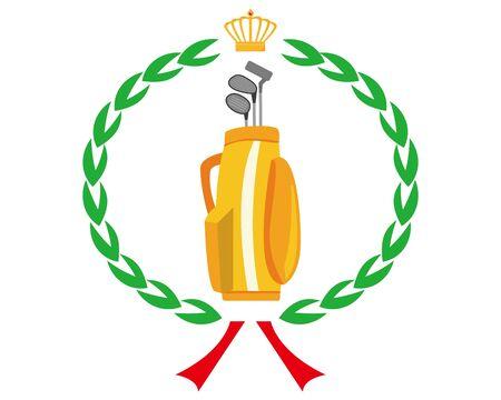 Golf club icon.  illustration Vector about golf .  golf club bag , crown , laurel