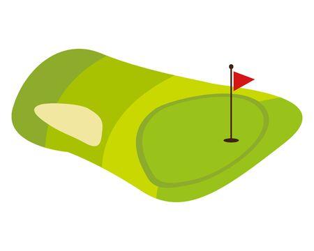 illustration Vector of green golf field .