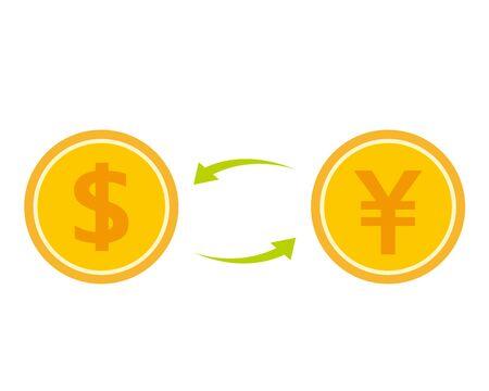 Coin vector, Japanese yen icon illustration . Dollar icon Illustration