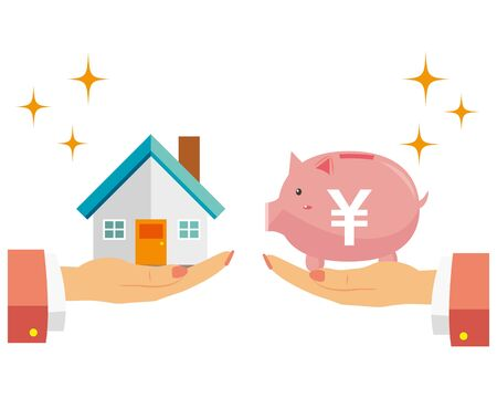 Illustration of buying and selling a house. The House. Money.