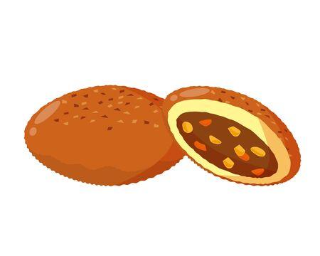 Bread vector illustration illustration . Curry bread