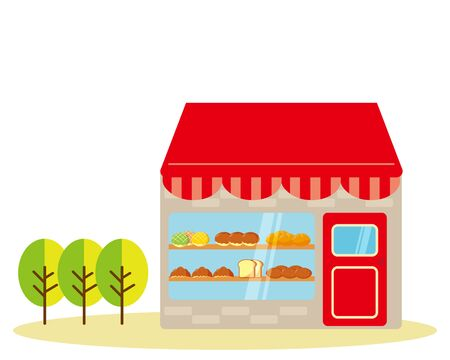 Bakery vector illustration. Bread lined up at the storefront