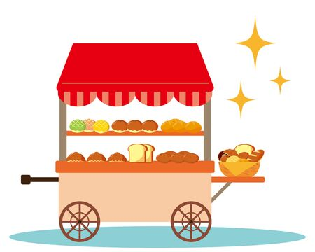 Bakery vector illustration.  Bread lined up at the storefront 일러스트