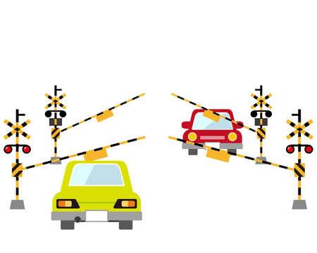 Car stopping at railroad crossing .