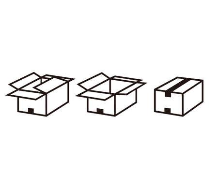 Vector illustration of cardboard box . Ilustración de vector