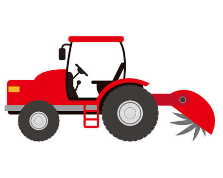 Vector illustration of tractor, car for farm work .