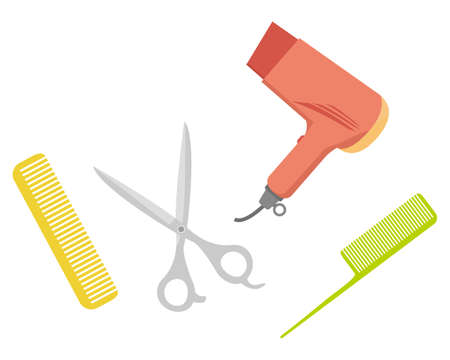 Illustration of hairdresser's scissors with comb and hairdryer