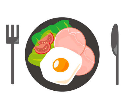 Vector illustration of cut ham . ham and eggs