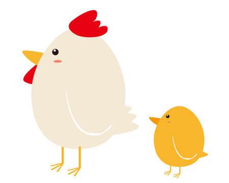 Vector illustration of chickens and chicks. 免版税图像 - 151388602