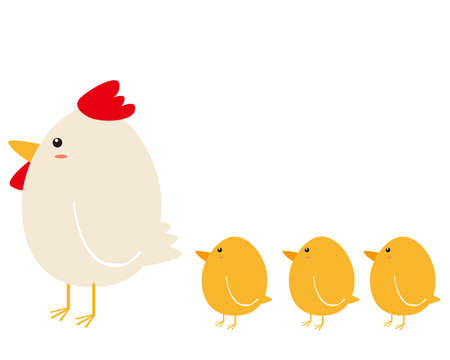 Vector illustration of chickens and chicks. 免版税图像 - 151388607