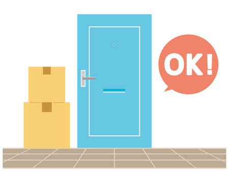 Place the courier in front of the door. Vector illustration.