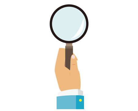 A vector illustration with a magnifying glass in your hand. Loupe icon