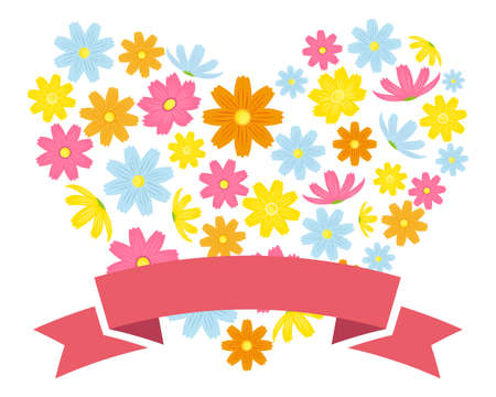 Colorful cosmos flower frame . Autumn cherry blossom message card . Autumn cherry blossoms in heart .