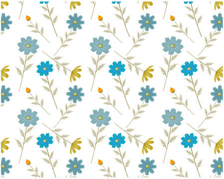 Seamless pattern of cosmos flowers. Vector illustration of floral background