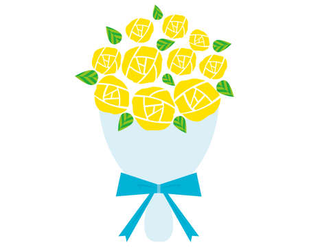 Vector Illustration of the Present rose . Bouquet of Yellow roses