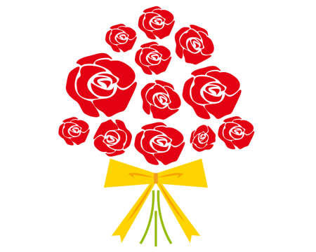 Vector Illustration of the Present rose . Bouquet of red roses