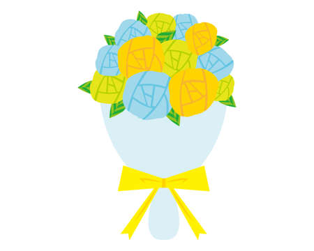 Vector illustration of colorful rose bouquets tied with a ribbon