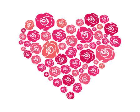 Rose flower vector illustration.Heart-shaped rose flower Ilustrace