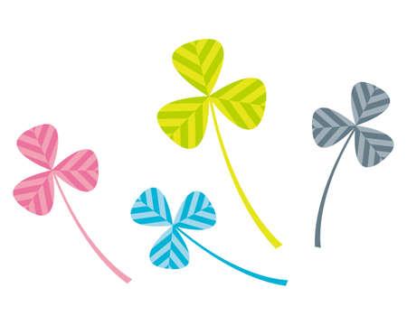 Vector illustration of colorful clover. Three-leaf clover