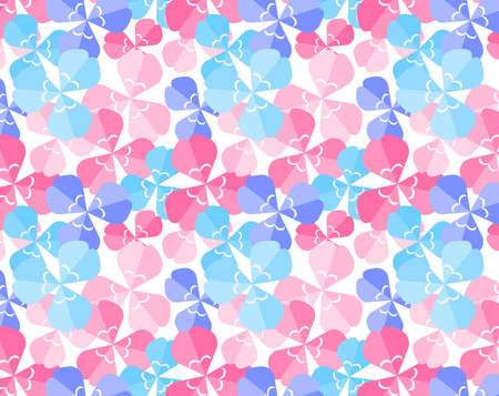 Background image of a three-leaf clover. Vector illustration of colorful clover. Seamless pattern