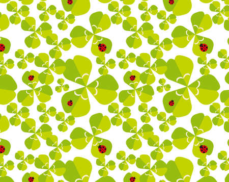 Background image of ladybug and four-leaf clover. Vector illustration of colorful clover. Seamless pattern