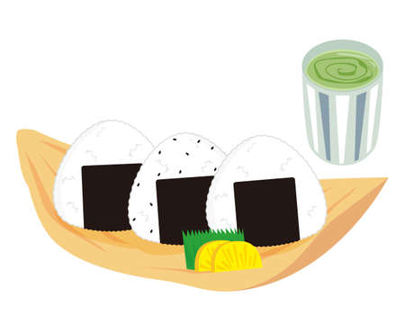 Vector illustration of a rice ball held in a triangle Illustration