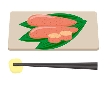 Vector illustration of Mentaiko. Japanese traditional food. Vector Illustration