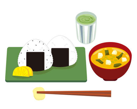 Vector Illustration of a Nice Ball Cold in a Triangle . Salted plum rice ball