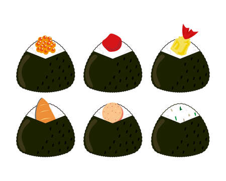 Vector illustration of a rice ball held in a triangle
