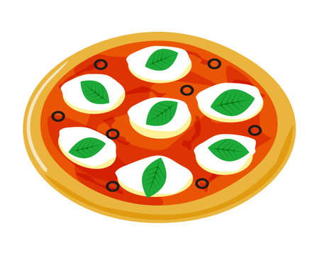 Vector illustration of pizza. Pizza with mozzarella and basil
