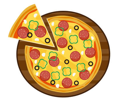 Vector illustration of pizza . Pizza with salami on top.