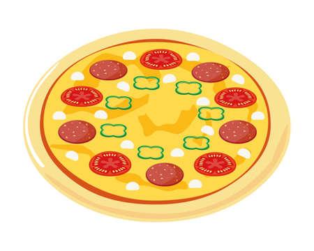 Vector illustration of pizza . Pizza with salami on top. Ilustración de vector