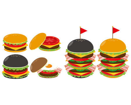 Vector illustration of cheese and beef burger
