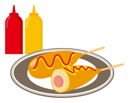 illustration of a corn dog with mustard and ketchup sauce . In Japan it is called American Dock