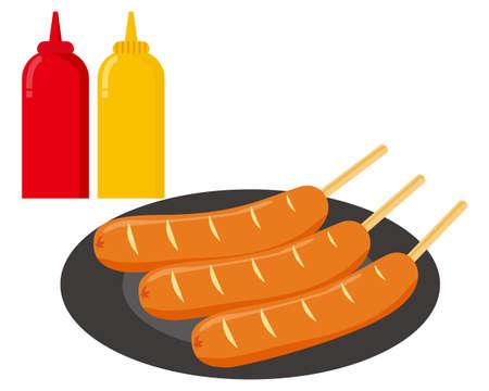 illustration of Sausage on a stick . frankfurter