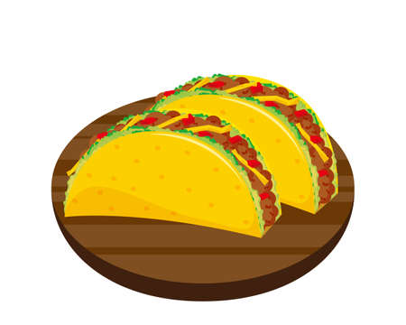 Vector illustration of lettuce and ground meat taco. Tortillas