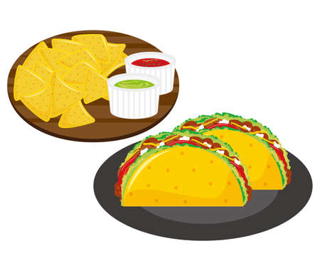 Vector illustration of tortilla chips and ground meat taco.