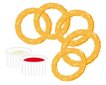 Vector illustration of onion ring.  Illustration