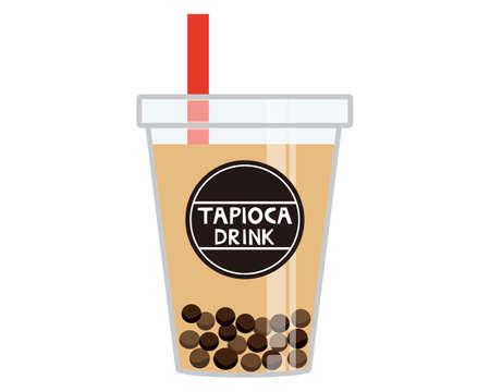 Vector illustration of tapioca drink. Tapioca milk tea Ilustração