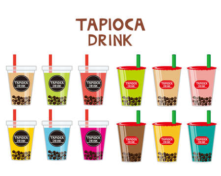 Vector illustration of tapioca drink.