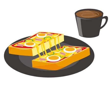 Vector illustration of pizza toast .