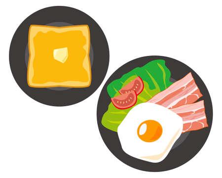 Vector illustration of ham egg and toast breakfast set  イラスト・ベクター素材