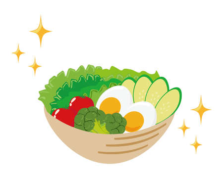 Vector illustration of vegetable salad topped with egg