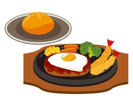 Vector illustration of hamburger steak with fried egg .