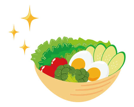 Vector illustration of vegetable salad topped with egg  イラスト・ベクター素材