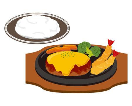 Vector illustration of hamburger steak with cheese . Vettoriali