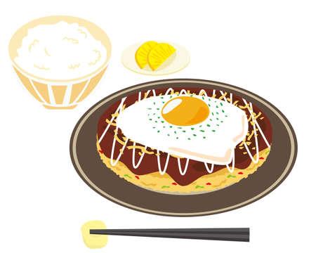 Vector illustration of okonomiyaki. Okonomiyaki is a local food in Osaka Vettoriali