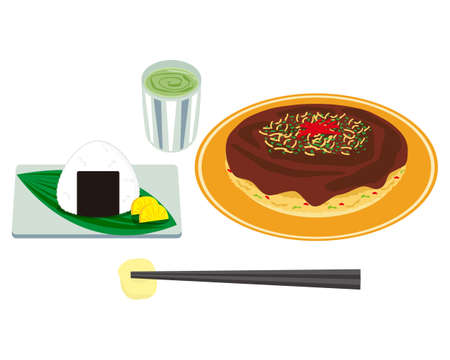 Vector illustration of okonomiyaki.   Okonomiyaki is a local food in Osaka Иллюстрация
